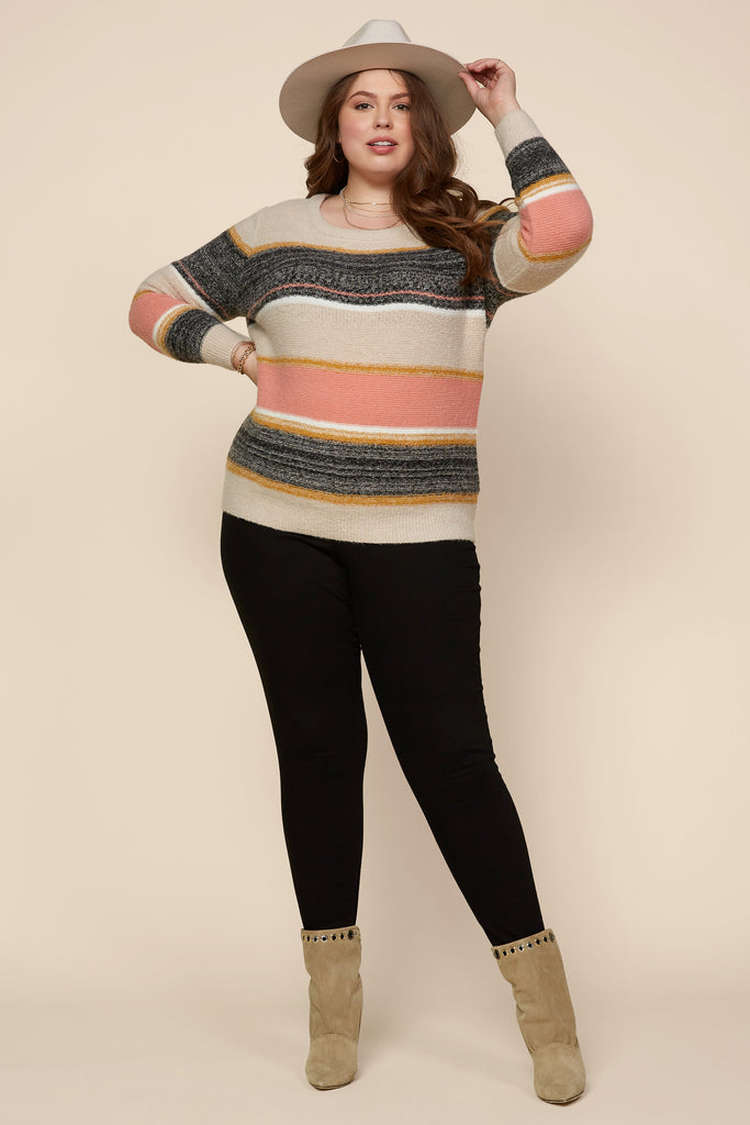 Plus Size - Marbled Color Block Sweater