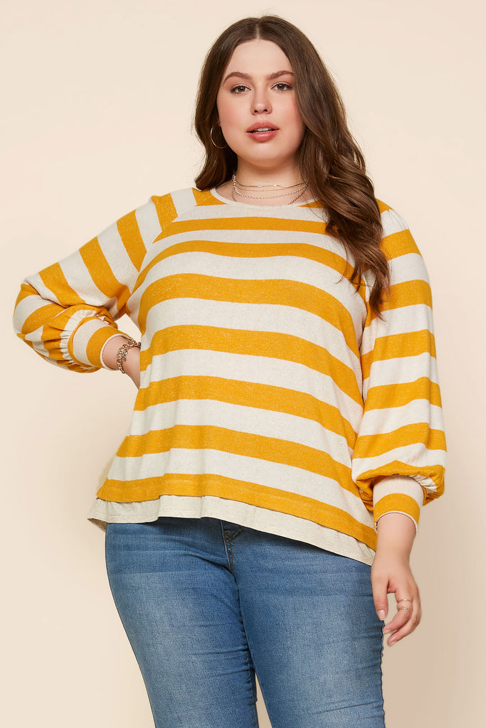 Plus Size - Striped Basic Knit Top