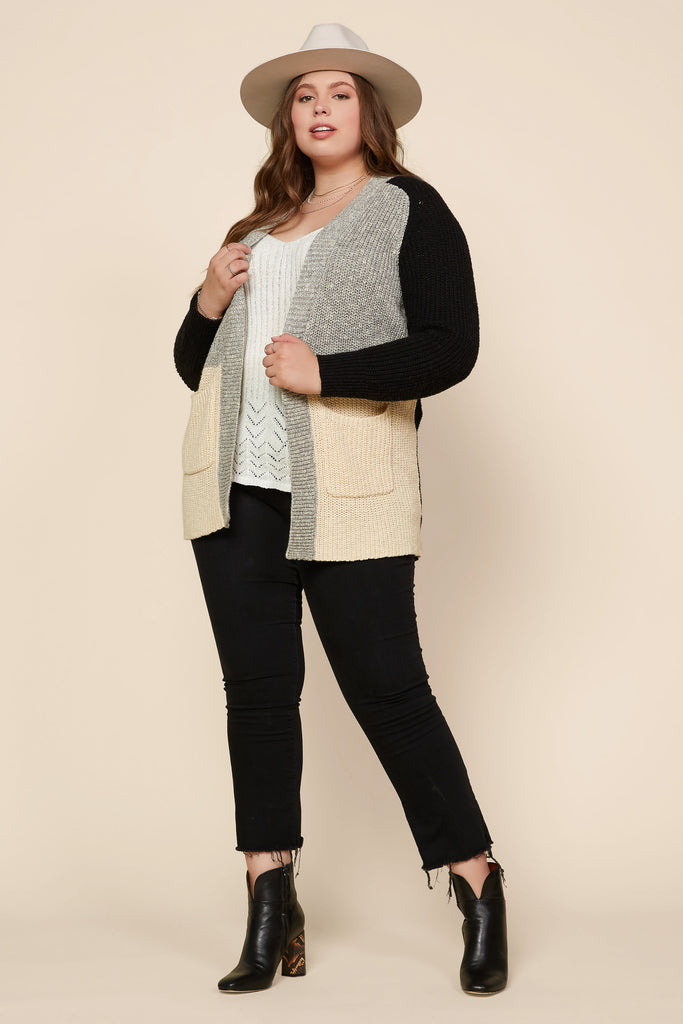 Plus Size - Color Block Cardigan