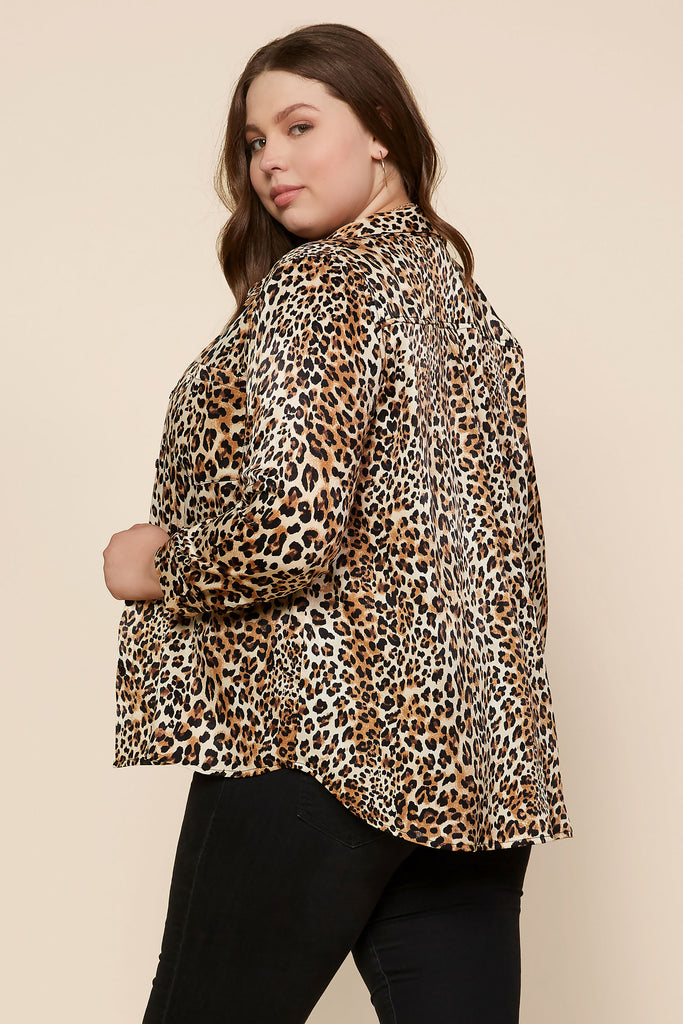 Plus Size - Leopard Print Button Down Shirt