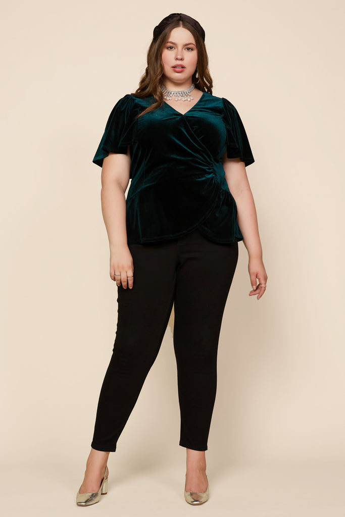 Plus Size - Flutter Sleeve Velvet Top