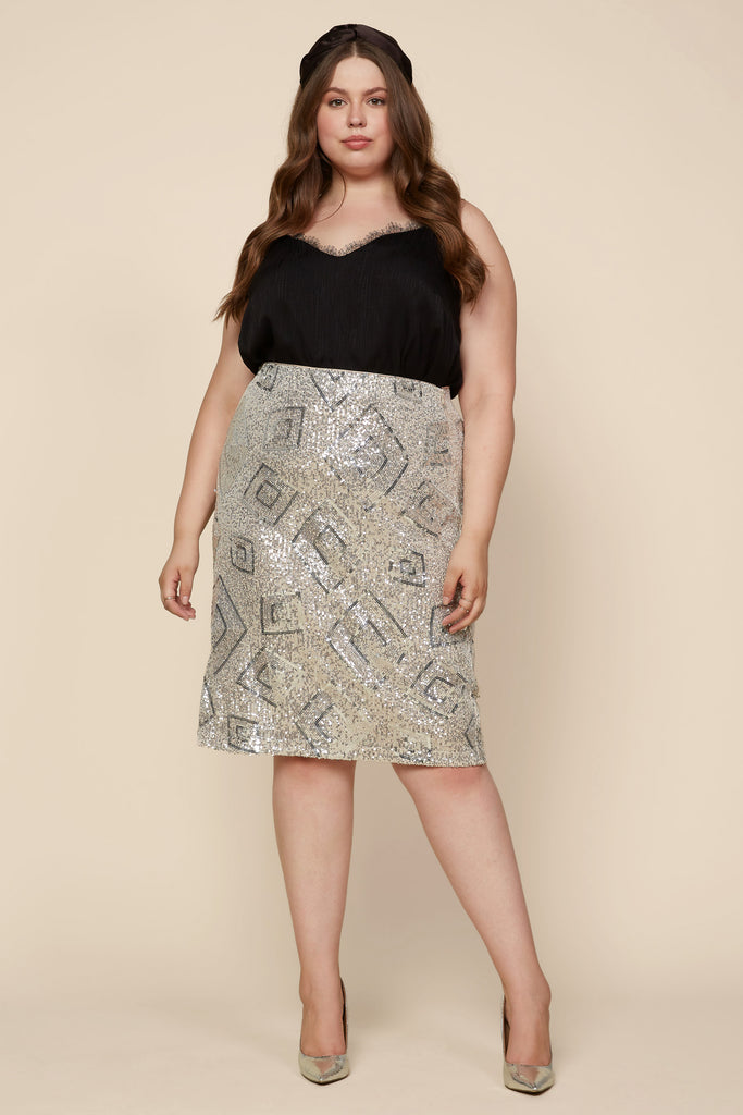 Plus Size - Sequin Midi Skirt
