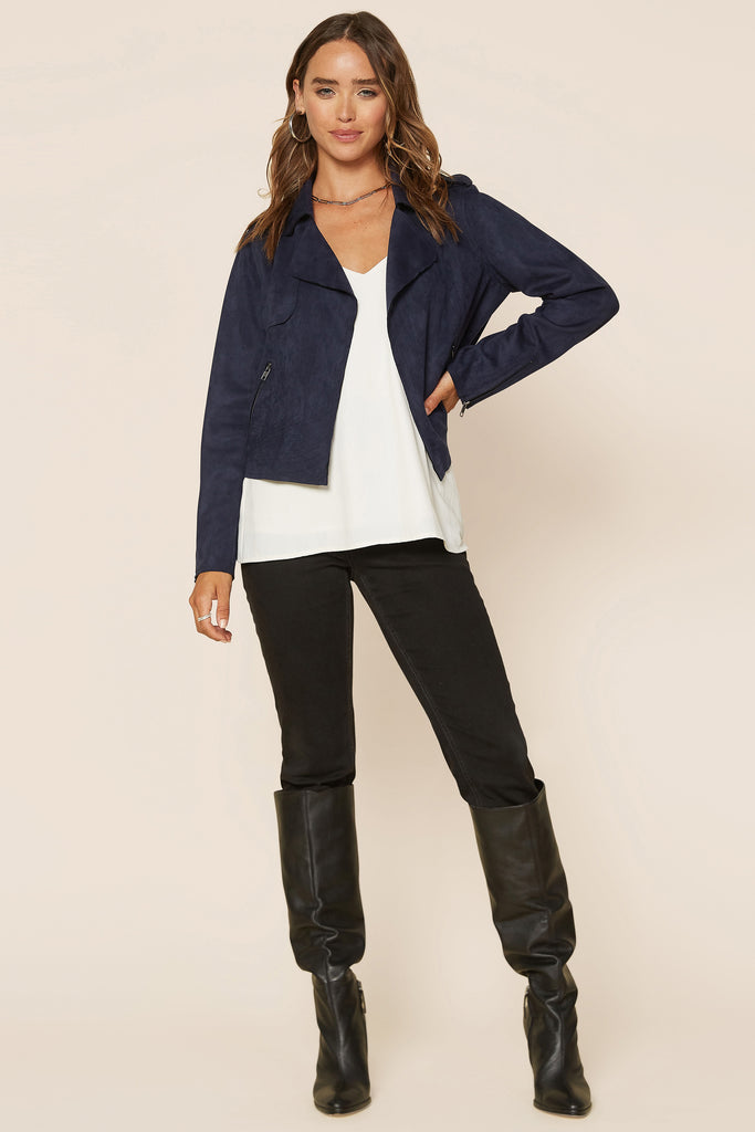 Biker Jacket with Front Zipper Pocket