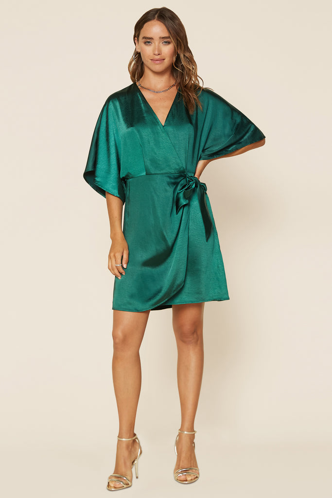 Satin Wrap Dress with Waist Tie
