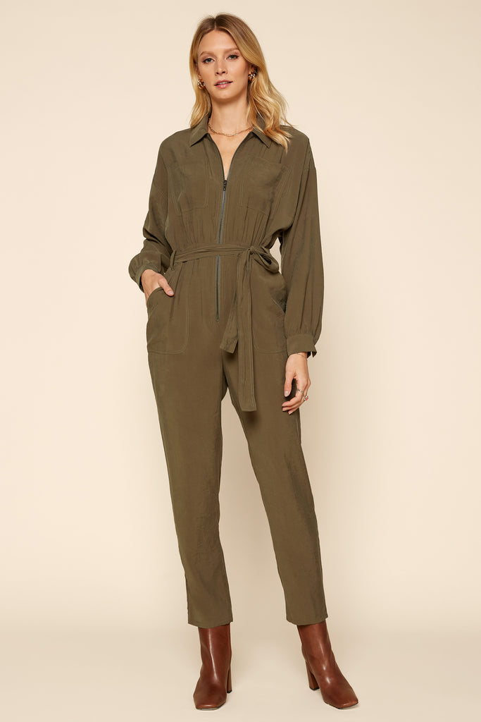 Long Sleeve Utility Jumpsuit