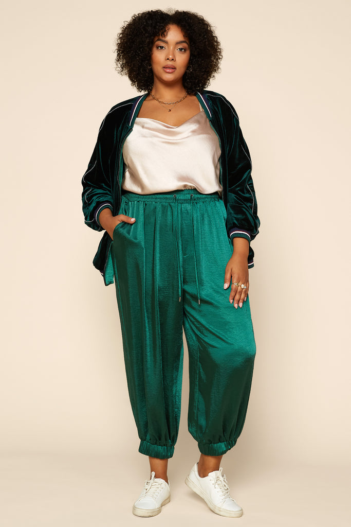 Plus Size - Reversible Velvet Satin Bomber Jacket