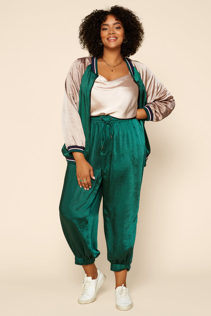 Plus Size - Satin Jogger Pants