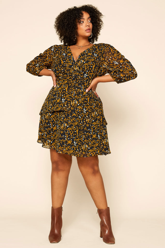 Plus Size - Floral Surplice Dress