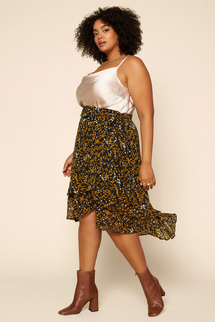Plus Size - High Low Floral Midi Skirt