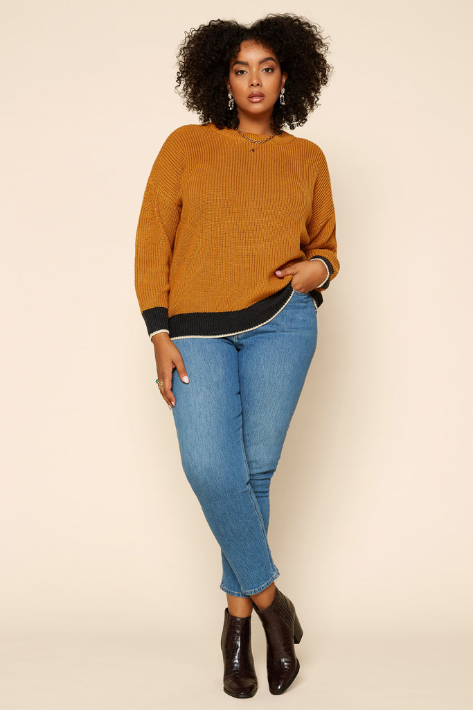 Plus Size - Contrast Hem Sweater Top