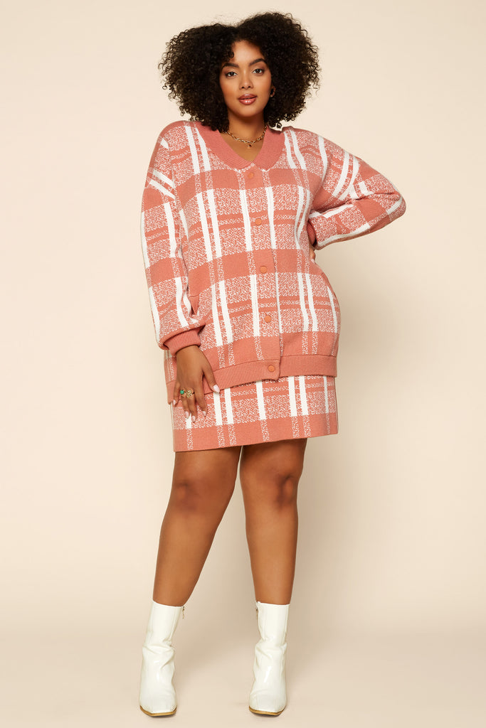 Plus Size - Two Tone Plaid Knit Skirt