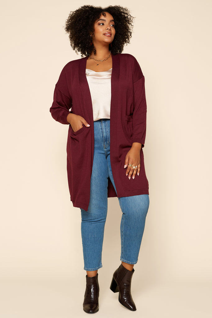 Plus Size - Open Front Cardigan