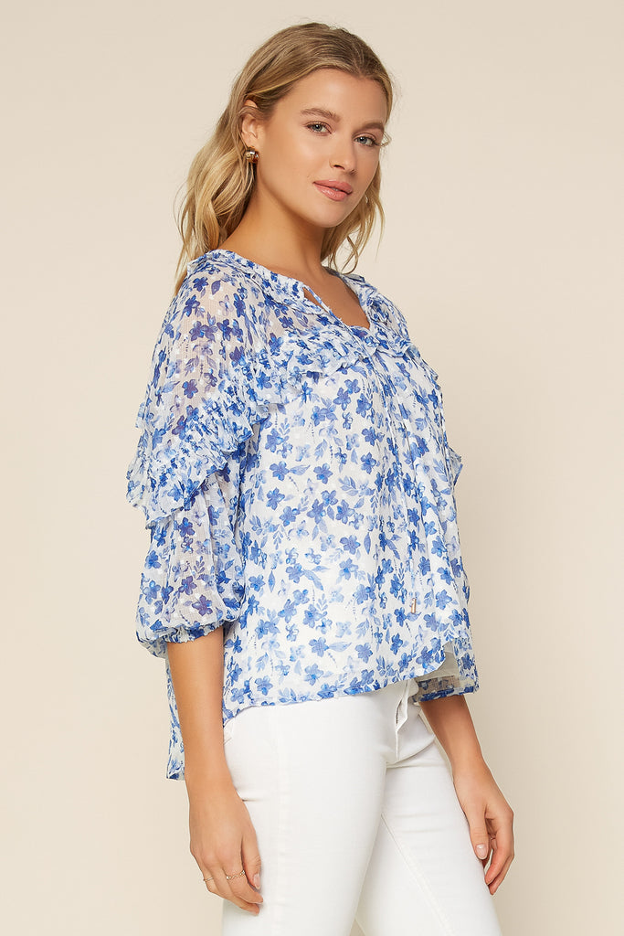 Sweet Floral Ruffled Top