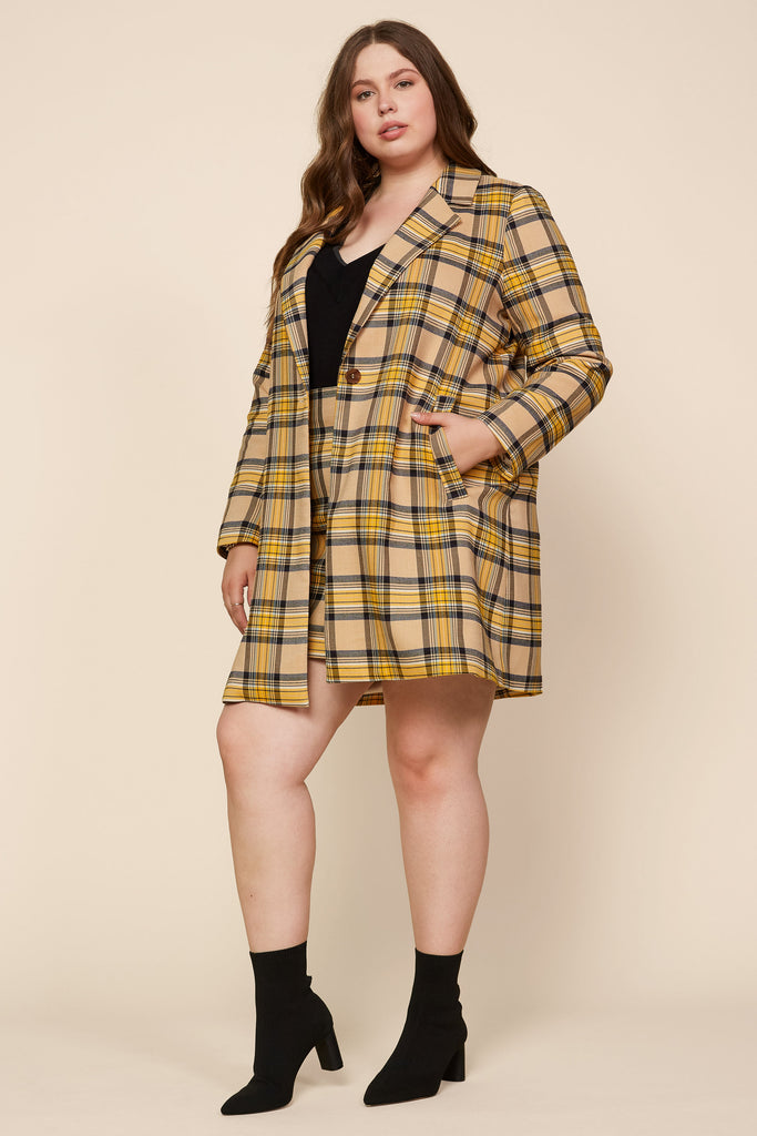 Plus Size - Plaid Single Button Coat