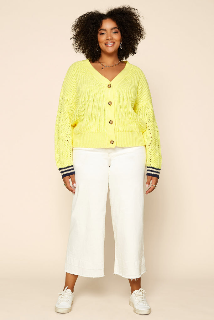Plus Size - Lime Cropped Cardigan