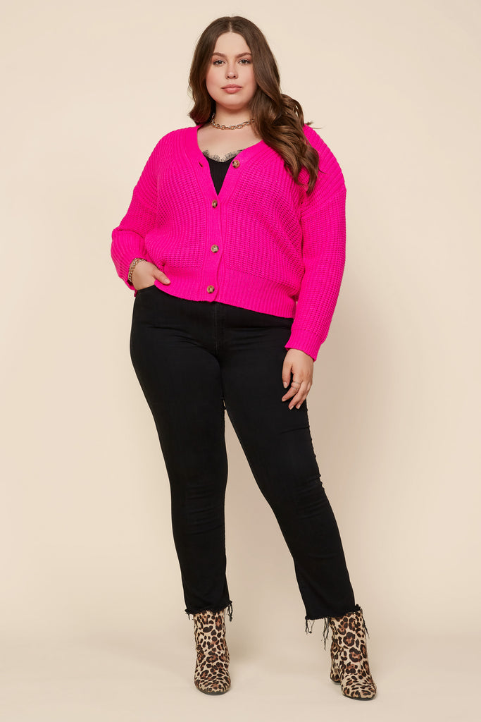 Plus Size - Slouchy Knit Sweater Cardigan