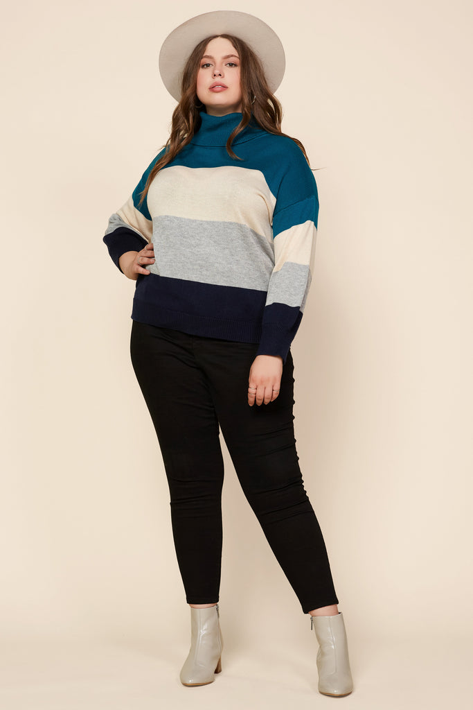 Plus Size - Color Block Turtleneck Sweater