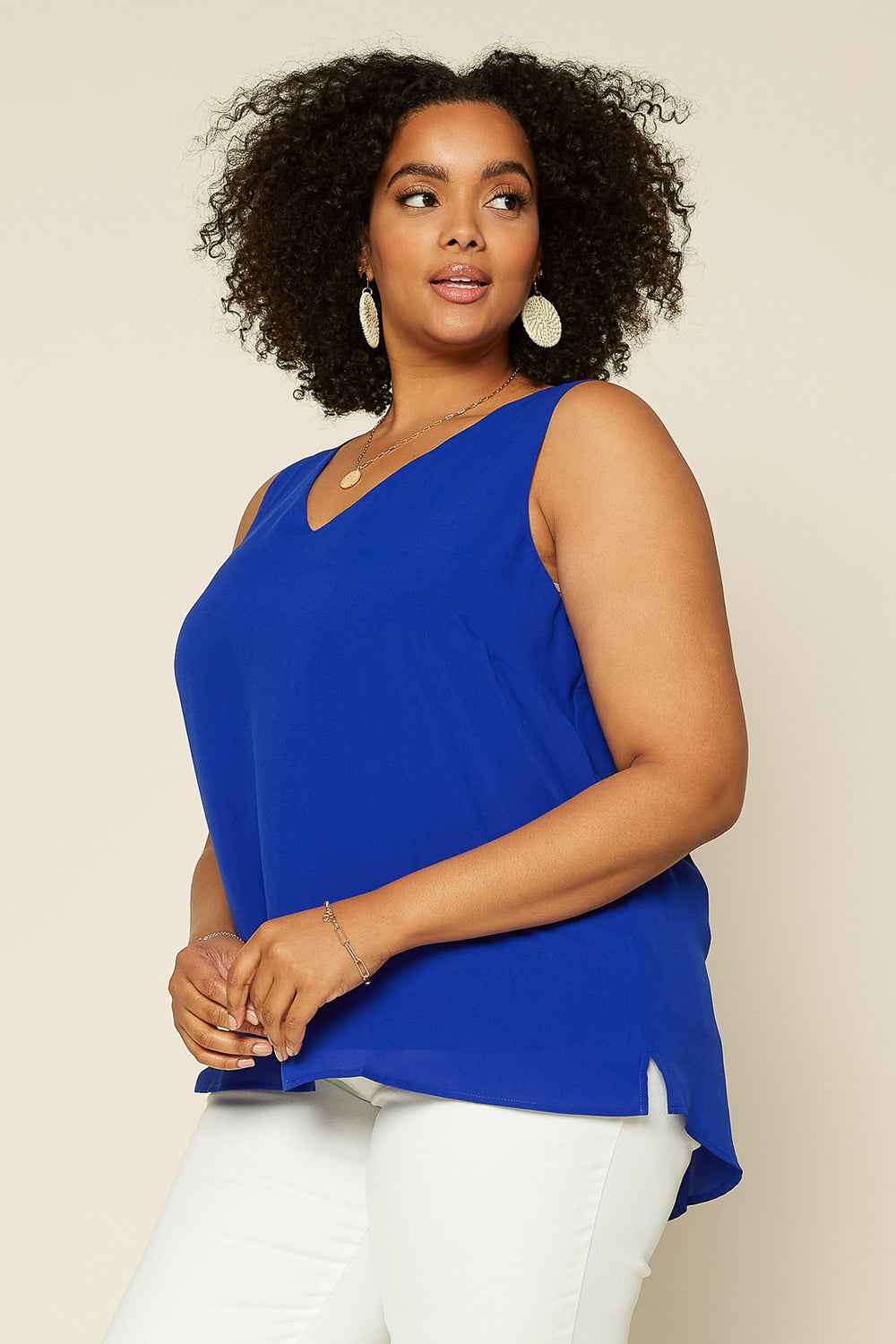 Plus Size- Sleeveless Top with Back Cutout Detail