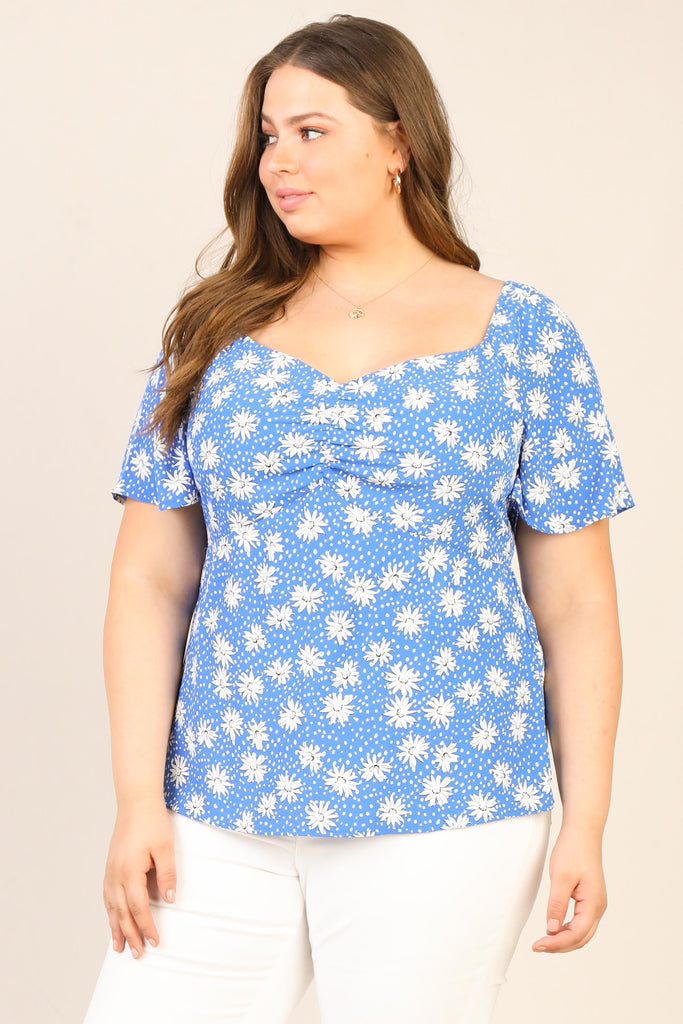 Plus Size - Daisy Puff Sleeve Floral Top