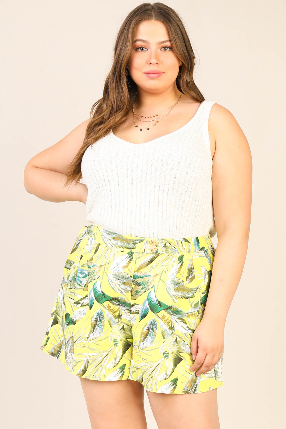 Plus Size- Tropical Print Shorts