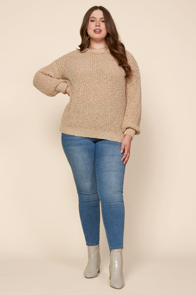 Plus Size - Balloon Sleeve Pullover Sweater
