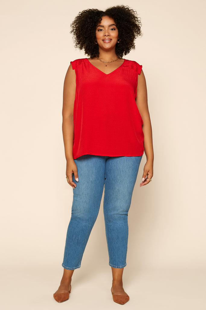 Plus Size - Pleated Shoulder Top