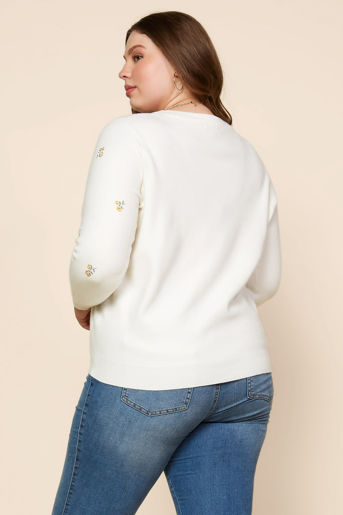 Plus Size - Floral Embroidered Crewneck Sweater