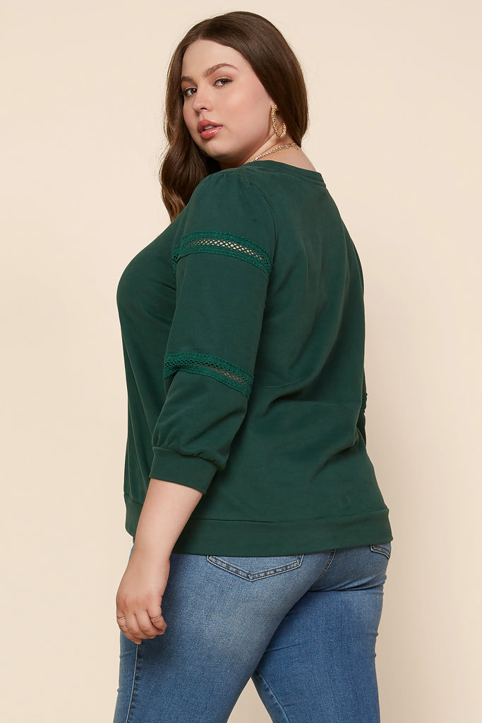 Plus Size - Crochet Lace Pullover Sweatshirt