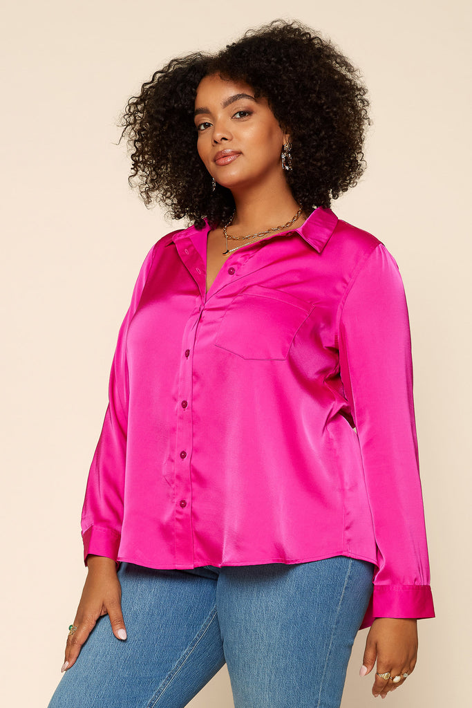 Plus Size - Satin Button Down Shirt