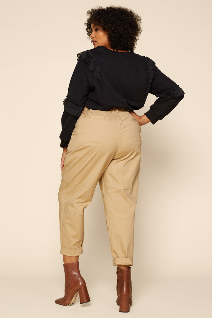 Plus Size - Cotton Paperbag Pants