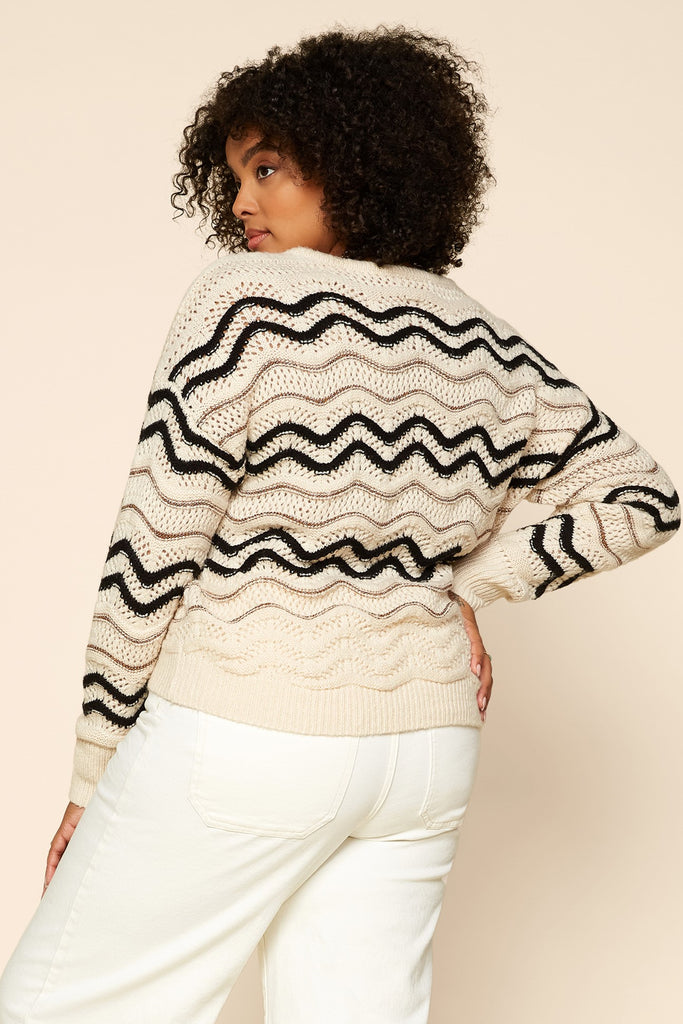 Plus Size - Metallic Chevron Strip Sweater