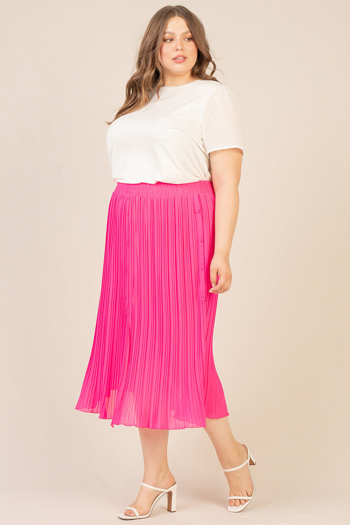 Plus Size - Pleated Midi Swing Skirt