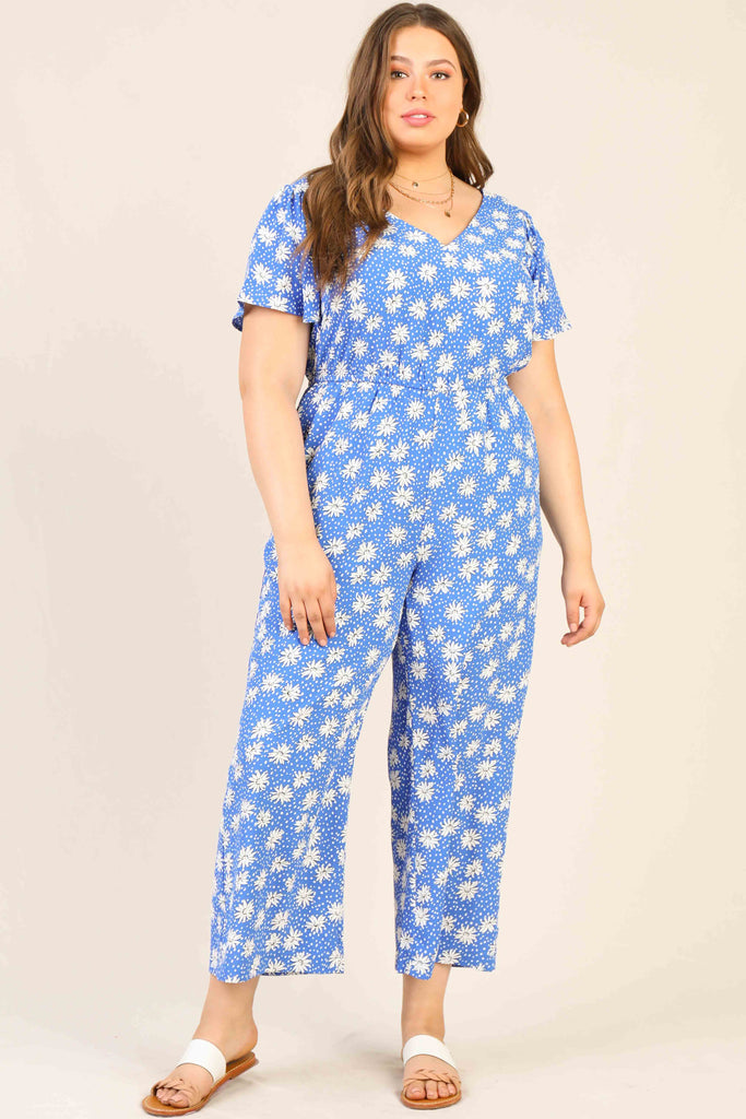 Plus Size - Daisy Smocked Floral Jumpsuit