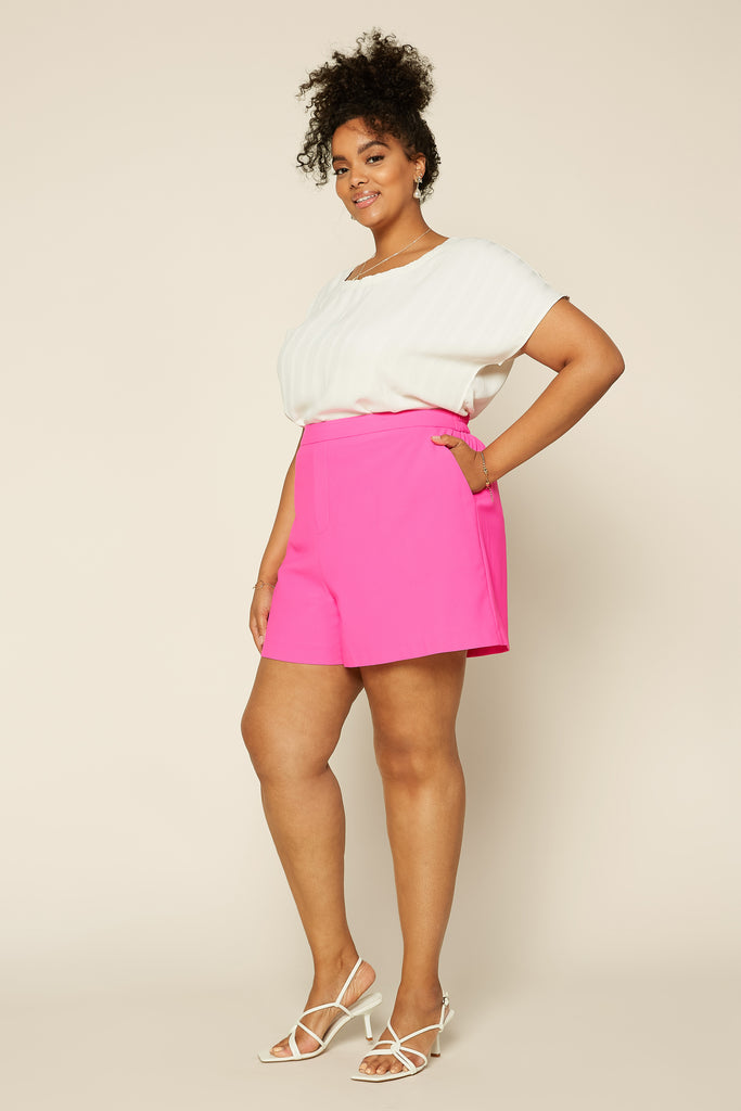 Plus Size - Neon Structured Shorts