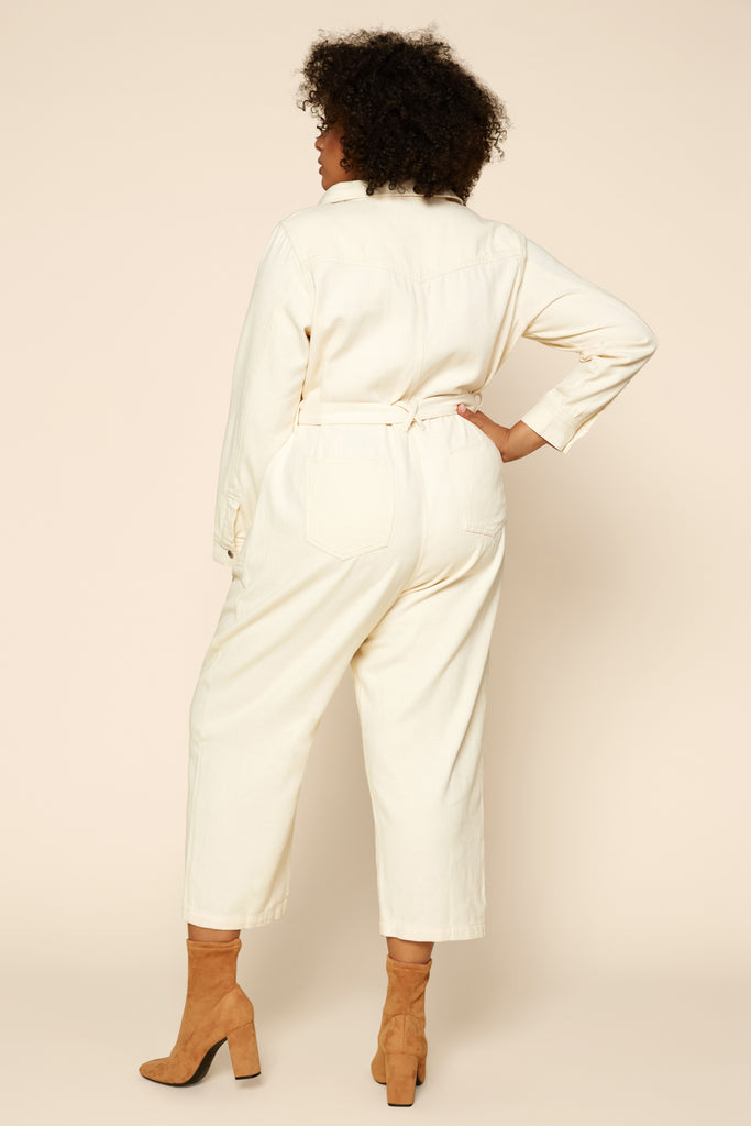 Plus Size - Cotton Twill Utility Jumpsuit