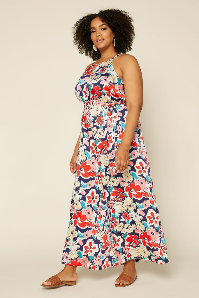 PLUS SIZE  - Floral Wide Leg Jumpsuit