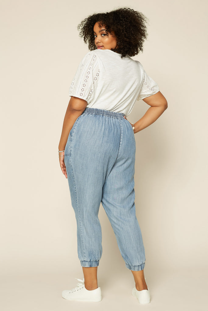 PLUS SIZE - CHAMBRAY JOGGER Pants