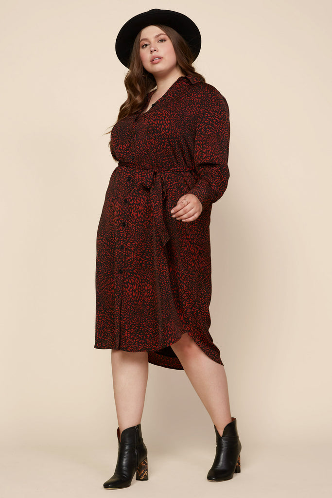 Plus Size - Animal Print Belted Shirt Dress