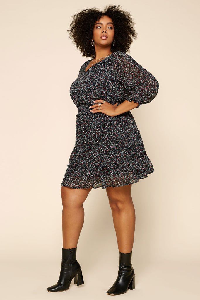 Plus Size - Ditsy Floral Mini Dress