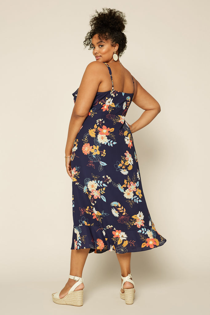 Plus Size - Floral Ruffle Midi Dress