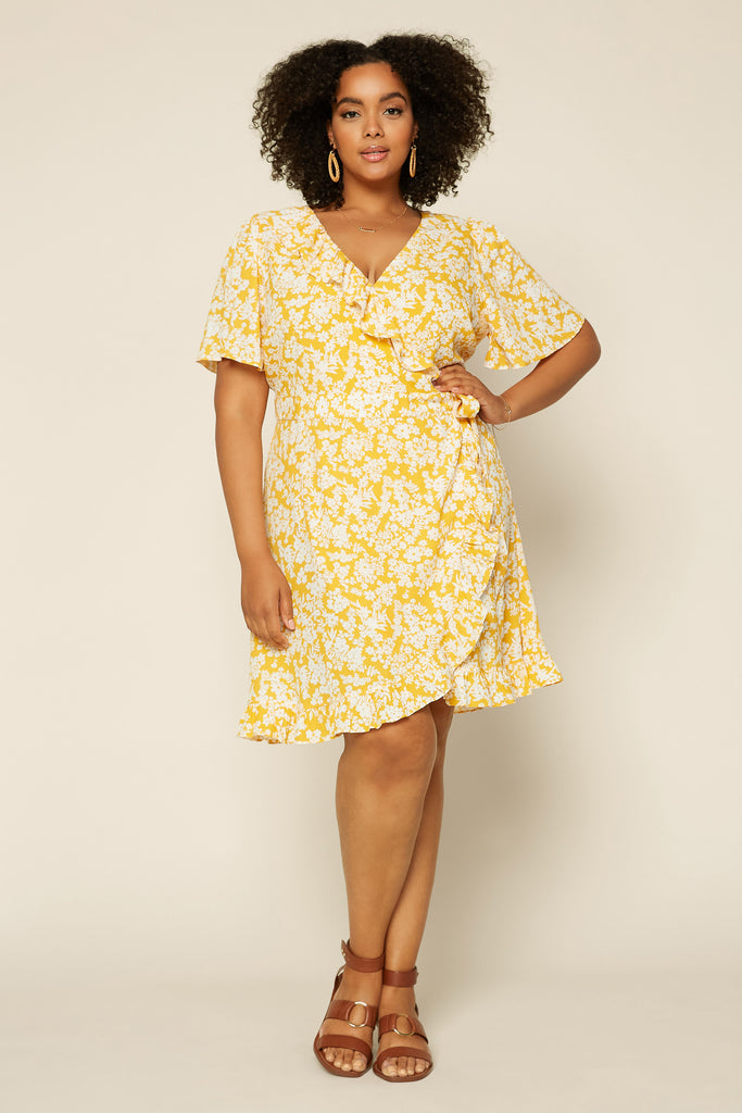 Plus Size - FLORAL RUFFLE Wrap Dress