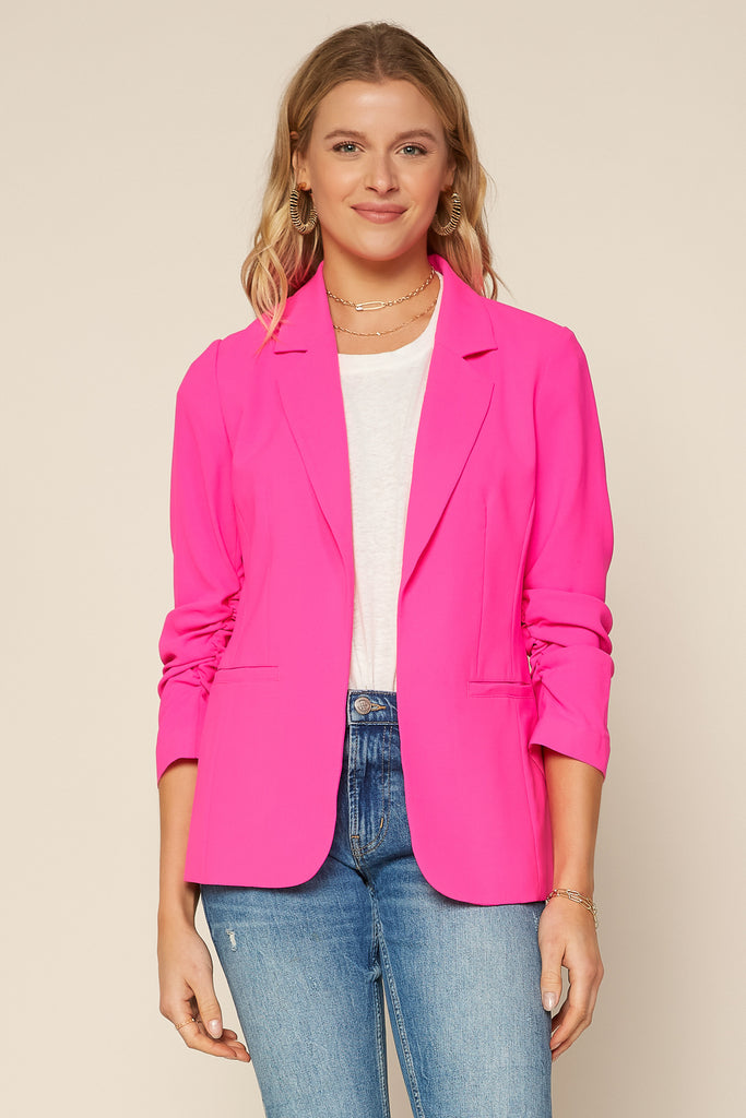 Neon Shirred Sleeve Blazer