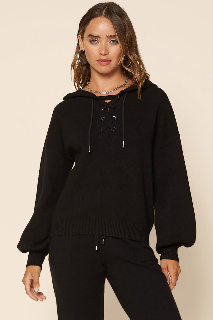 Soft Eyelet Lace Up Hoodie