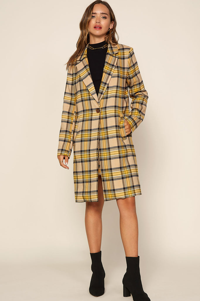 Plaid Single Button Coat