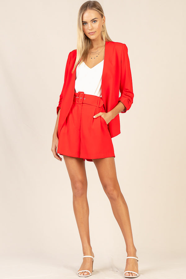 Romantic Ruched Sleeve Blazer