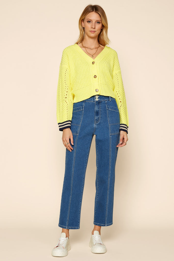 Lime Cropped Cardigan