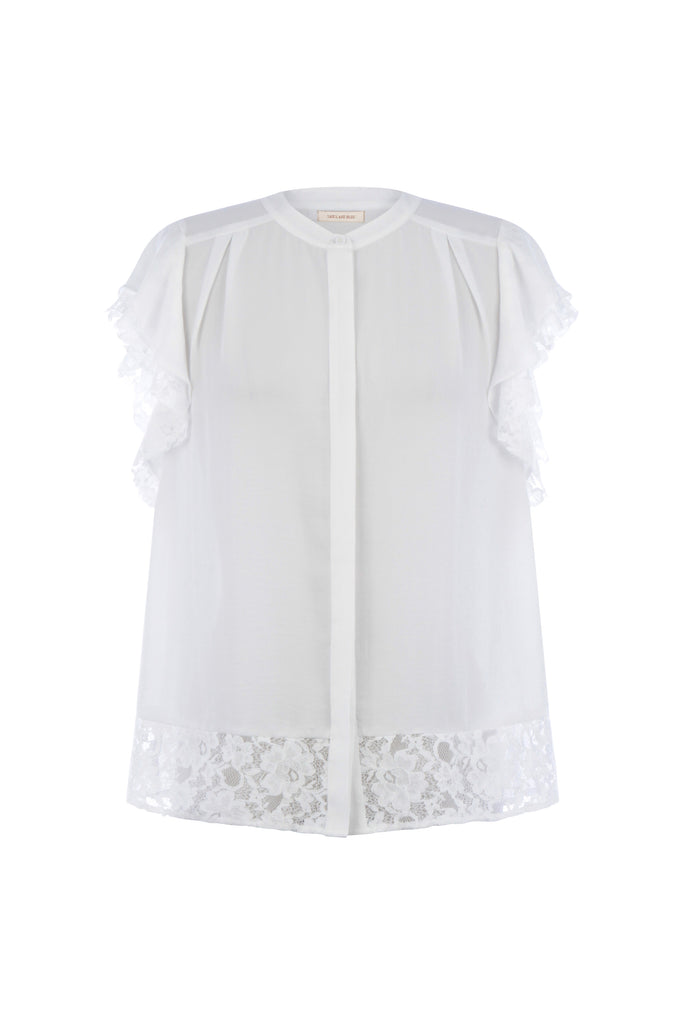 Ruffled Sleeve Lace Blouse