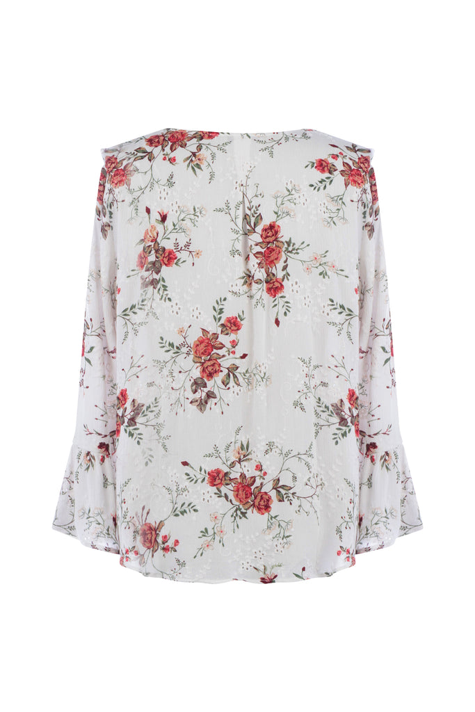 Ruffled Floral Print Top