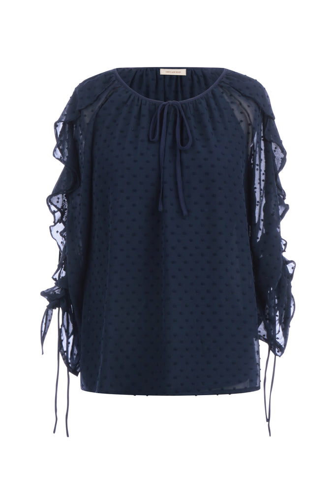 Ruffled Sleeve Swiss Dot Top