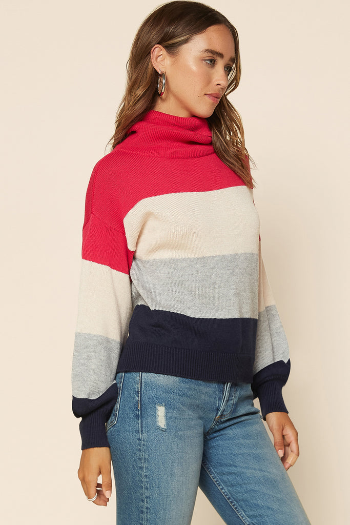 Color Block Turtleneck Sweater